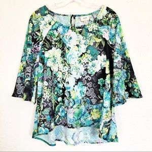 ECI Floral Bell Sleeve Blouse